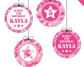 """Pink Camo or Army Party - Personalized DIY printable 2"""" party circles"""