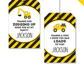 Construction Party - Personalized DIY printable favor tags