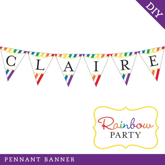 Rainbow Party - Personalized DIY printable pennant banner