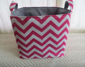 13 x 13 x13 Storage Basket Laundry Toy Bin Container Organizer  Chevron - choose your color