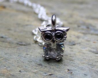 Silver Owl Necklace Little Tiny Owl Jewelry Rhinestone