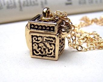 Gold Wish Box Prayer Box Jewelry Locket Necklace