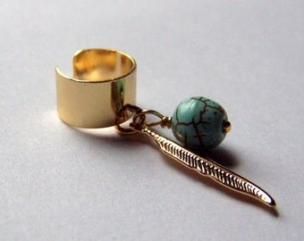 Dream Catcher Turquoise Dreamcatcher Jewelry Gold Ear Cuff Body Jewelry Feather Ear Cuffs