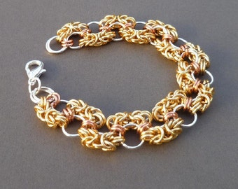 Chainmaille Bracelet, Handcrafted Chainmaille Bracelet, Copper Chainmaille Bracelet, Womens chainmaill bracelet