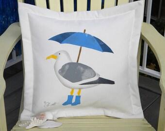 "Outdoor pillow cushion SEAGULL WITH UMBRELLA 20""x20"" galoshes bumbershoot rain precipitation coastal shelling Crabby Chris Original"