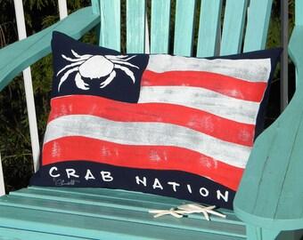 "Outdoor pillow CRAB NATION Dungeness lumbar painted 15""x20"" seashore coastal crustacean west coast red white blue Crabby Chris™ Original"
