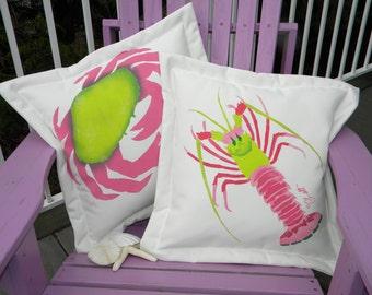 "Outdoor pillow SPINY LOBSTER 20""x20"" ocean Rock Lobster crustacean seafood coastal beach Crabby Chris Original"