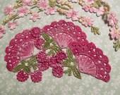 Pink Lace Fan Hand Dyed Venise Applique Embellishment Kit