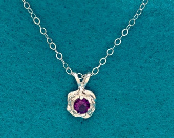 Rose Flower Amethyst Silver Necklace February birthstone