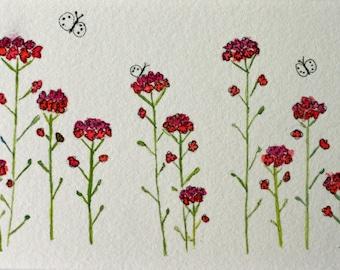 Pink little flowers original watercolor, rape blossoms, small art, flowers in a row, white butterflies