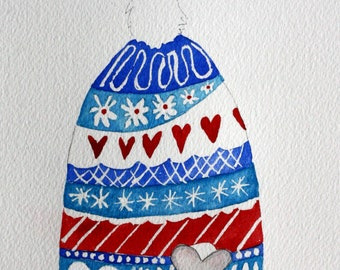 Colorful winter hat and mouse original watercolor, blues and reds, children's art, nursery art, whimsical, mouse house