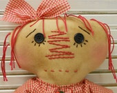 Cherry Pickin' Annie Handmade Primitive Raggedy Ann Annie Doll With Cherries Print Dress Cinnamon Rubbed