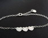 Three initial hearts bracelet in STERLING SILVER, family engraved bracelet , romantic birthday gift, for mom daughter .sister , for wife