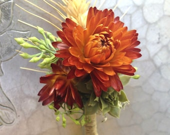 Boutonnière, orange straw flower with succulent and wheat accents