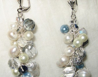 Wedding Bridal Earrings,Cascading Dangle, BLUE HYDRANGEA ,Pearl, Crystal, Hand  Knit Spiral Twist ,Sereba Designs,  Artistic Fashion