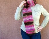 CLEARANCE Chocolate Brown and Light and Bright Pink Scarf - Long Scarf - Hoooked Scarves for Women - Ready To Ship