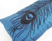 blue black peacock feather glitter sequins pillow in size 9 x 20 inches provided with the filler