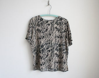 Vintage Silk Blouse - Animal Print Blouse - Zebra Stripe and Leopard Spot