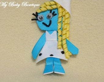 Smurfette Inspired Hair Bow Clip with Curly Hair