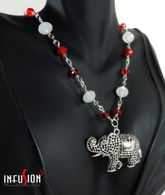 Red white beaded big elephant necklace jewelry plus free for Delta sigma theta jewelry