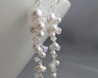 Bridal Earrings, Ivory Pearl Wedding Earrings, Pearls and Crystals AB Silver Dangle Earrings, Bridal Jewelry, Statement cluster earrings.