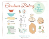 Christmas Baking Holiday CLIP ART SET for personal and commercial use - cookies, pie, mixer, rolling pin