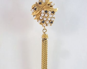 Watch Pendant Tassel Necklace with Pearls & Rhinestones Works Vintage