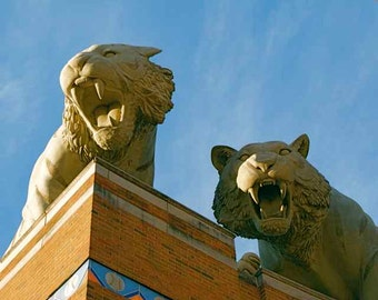 Detroit Tigers Fiercely Prowling Stone Statues Downtown Baseball Stadium Comerica Park Urban Sculpture Sports Decor Photography Photo Print