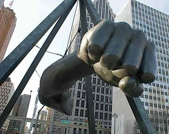 The Fist of Joe Louis Detroit Motor City Downtown Motown Icon Urban Iconic Masculine Macho Art Public Sculpture Photography Photo Print