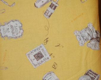 Fat Quarter Yuwa Live Life Sewing Notions yellow quilting fabric