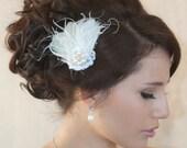Vintage inspired White Feather fascinator Crystal Rhinestones, Wedding Reception - F03