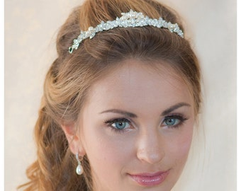 Pearl Rhinestone crown wedding silver crown bridal Headband - made to order