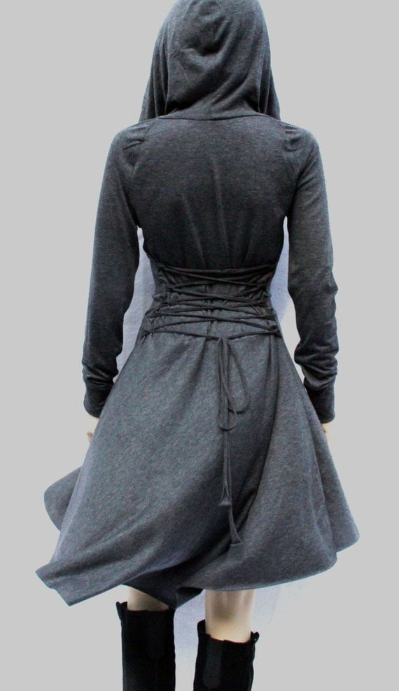 Dress Grey Dress Casual Day Dress Low High by MIRIMIRIFASHION
