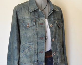 "Green XL Denim JACKET - Olive Green Hand Dyed Upcycled Riders Copper Denim Trucker Jacket - Adult Womens Size XL Extra Large (46"" chest)"