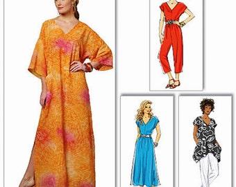 Caftan Pattern, Tunic Top Pattern, Jumpsuit Pattern, Dress Pattern, Pull-on Pants Pattern, Butterick Sewing Pattern 5652