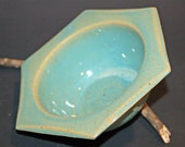 Hexagon Pottery Bowl, Green Pottery Bowl, Green Ceramic Bowl, Ceramics and Pottery