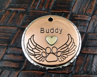 Paw with Angel Wings Custom ID Tag-Dog Collar ID Tag-Personalized Pet ID Tag-Memorial Pet Tag
