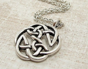 Woven Celtic Knot Necklace, Silver Celtic Knot Pendant on a Silver Cable Chain