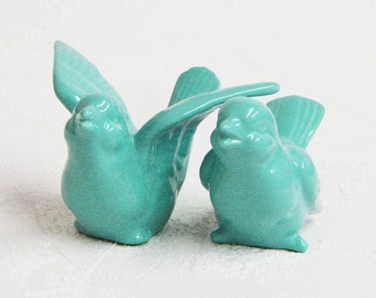 Ceramic Love Bird Cake Toppers Handmade Wedding Keepsake Figurines in Turquoise Blue - Made to Order