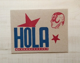 Hola Hello Luchador Letterpress Card Greeting Card, Spanish Card, Blank Note Card, Spanish Language, Funny Birthday Card, Pun Card