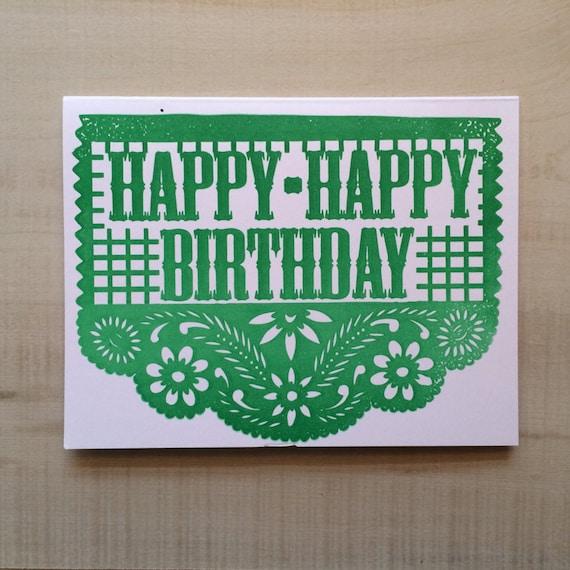 Happy Happy Birthday Greeting Card Spanish Card Blank Note Card
