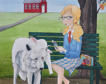Mary Had A Little Lamb, Mary, girl with wolf, school girl, fairy tale, fantasy, nursery rhymes, wolf in sheep's clothing, Mary Pohlmann
