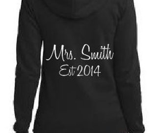 Mrs. (Your New Last Name) EST (Your Wedding Date or Year) Beach Hoody