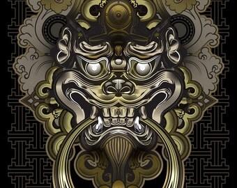Shi Shi Lion Knocker- Paper Print - 11x17