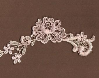 Hand Dyed Floral Venise Lace Applique  Vintage Blush Creme