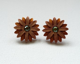ns-Taupe and Topaz Flower with Rhinestone Center Earrings with Gold Plated Posts
