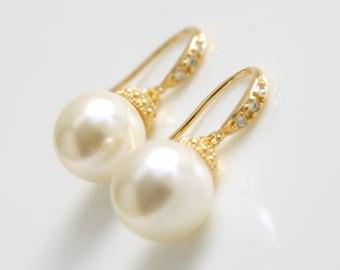 Gold Pearl Drop Earrings Bridal Jewelry Wedding Pearl Jewelry Pearl Earrings Gold dangle Wedding Earrings Bridesmaid Earrings, Lucy
