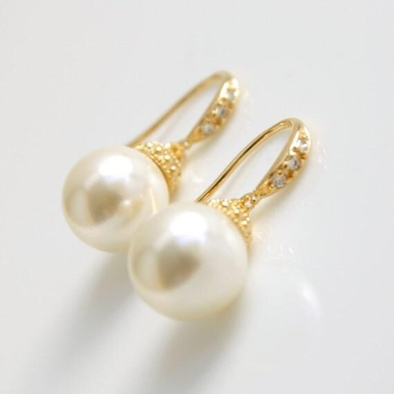 gold pearl drop earrings bridal jewelry wedding pearl jewelry