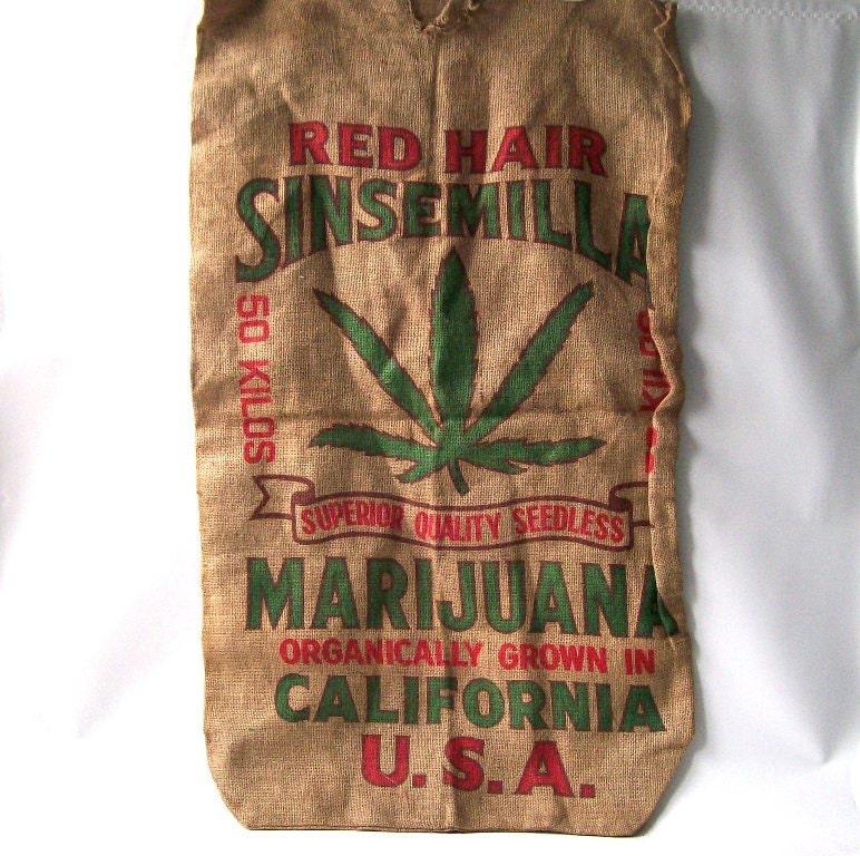 Vintage cannabis burlap bag marijuana wall by for Decorative burlap bags