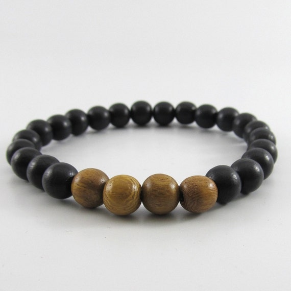 Mens black and brown robles wooden beaded stretch bracelet